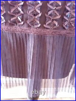 Vtg Betsey Johnson Black Label Brown Silk Mesh Slip Dress Ribbons Women Large L