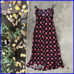 Vtg Betsey Johnson Cherry Print Spaghetti Strap Slip Dress