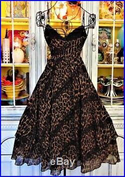 Vtg Betsey Johnson Dress LEOPARD Silk Slip Womens Casual Cocktail Party Midi 2 S
