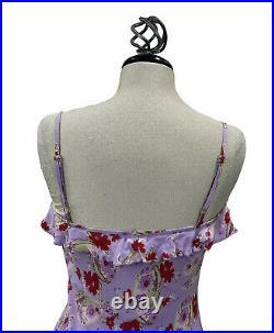 Vtg Betsey Johnson NY Purple Floral Print Y2K 90s Grunge Slip Rayon Dress Sz Med