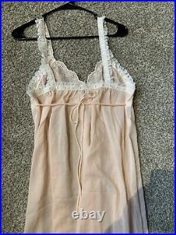 Vtg CHRISTIAN DIOR Baby Pink Lingerie Lace Delicate Sleeveless Maxi Slip Dress