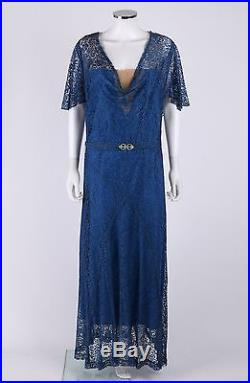 Vtg COUTURE c. 1910s Edwardian 3 Pc Blue Lace Belted Evening Gown Dress Slip Set