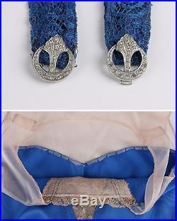 Vtg COUTURE c. 1910s Edwardian 3 Pc Blue Lace Belted Evening Gown Dress Slip Set