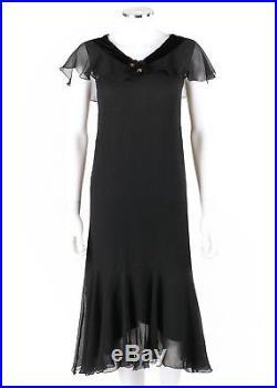 Vtg COUTURE c. 1920-1930's Black Silk Chiffon Velvet Cocktail Dress + Silk Slip