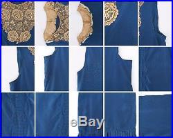 Vtg COUTURE c. 1920's Blue Silk & Beige Floral Lace Sleeveless Slip Shift Dress