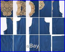Vtg COUTURE c. 1920's Blue Silk & Beige Floral Lace Sleeveless Slip Shift Dress