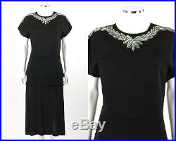 Vtg COUTURE c. 1940s Black Rayon Crepe Sequin Peplum Cocktail Shift Dress with Slip