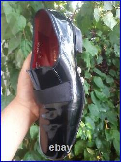 Vtg CROCKETT & JONES Patent Leather Grosgrain Strap Slip On Size US 8.5 UK 7.5 D