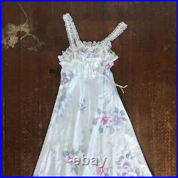 Vtg Christian Dior Pink Satin Lingerie Lace Dress Maxi Floral pastel Small S