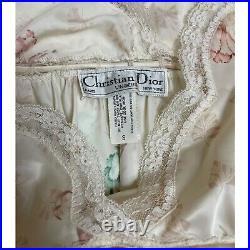 Vtg Christian Dior Pink Satin Lingerie Lace Dress Maxi Monogram S