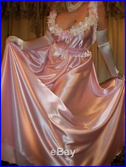 Vtg Fair Pink Long Full Sweep Satin Slip Nightgown Babydoll Negligee Dress 2X 3X