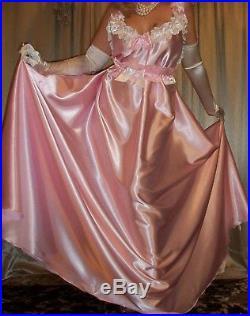 Vtg Fair Pink Long Full Sweep Satin Slip Nightgown Babydoll Negligee Dress 3X 4X