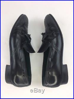 Vtg GUCCI Black Leather Loafer Slip On Dress Shoes w Tassels Italy EU 46 US 13