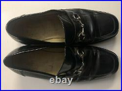 Vtg GUCCI Mens Black Leather Silver Horse Bit Slip On Loafers Shoes Size 9.5