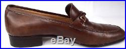 Vtg GUCCI Mens Leather Horse Bit Loafers Brown Dress Shoes Slip On tally Size 8