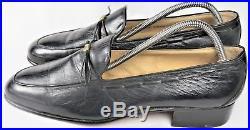 Vtg Gucci Mens Dress Shoes Black 42.5 9.5 M Leather Loafer Slip-on Italy EUC