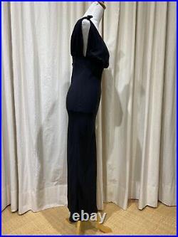 Vtg Jean Paul Gaultier Femme Silk Tie Shoulder Gown Slip Dress Black Italy 42