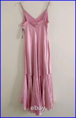 Vtg LAUREN Ralph Lauren Pink Silk Cocktail Midi Dress Sz 8 beaded strap NWT