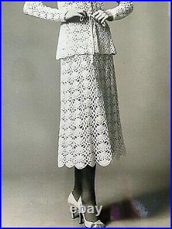 Vtg Lillie Rubin Cream Crochet Lace Peplum 2 Pc Dress Suit Midi with Slip S 4 6