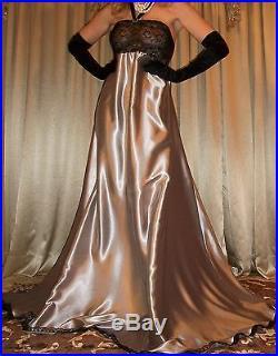Vtg Liquid Silver Long Sweep Full Dress Slip Satin Nightgown Lingerie L XL 1X