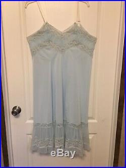 Vtg Mary Barron Baby Blue Silky Wide Lace Tricot Nylon Dress Slip Gown Sz 42