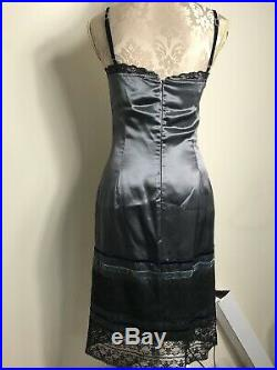 Vtg Moschino Jeans Dress Sz 12 Slip Black Velvet Lace Gothic Steampunk