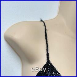 Vtg NAEEM KHAN Riazee Silk Beaded Open Back Art Deco Slip Dress Sz 8 blue black