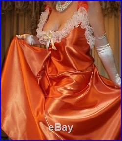 Vtg Orange Lace Long 200 Sweep Satin Dress Slip Babydoll Nightgown 2X 44 46