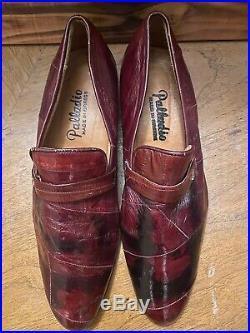 Vtg PALLADIO Hand Made Genuine Alligator Burgundy Slip-on Dress Loafers mens 8.5