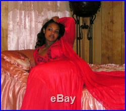 Vtg Red OLGA Bodysilk Lingerie Dress Nightgown Slip Negligee Peignoir Robe Set M