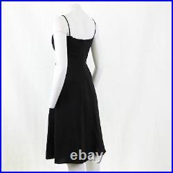 Vtg Reiss Y2K Black Panel Pure Silk Fitted Bodice Midi Dress 12 OTOT