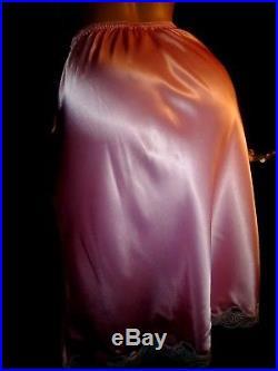 Vtg Satin Princess Pink Christian Dior Monogram Dress Slip Lacy Petti M-42 Nwot