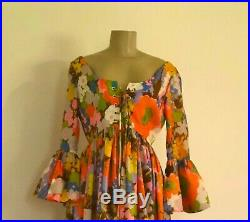 Vtg Satiny Floral Empire Gown Long Peasant Party Dress, Low Cut Back, Bell Sleeves