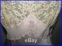 Vtg Silk Slip Dress Alencon Lace Bodice Tiny Straps Sexy Pale Pink Elegant 30's