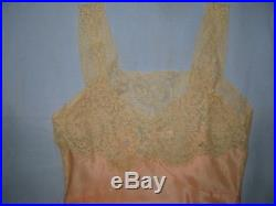Vtg Silk Slip Dress Gown Alencon Lace Lord & Taylor Floral Insets Garlands Exc