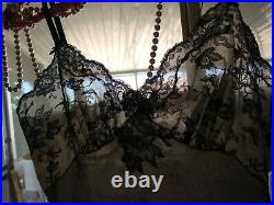 Vtg Silky 50's Scarce Dress Slip Overlay Wide Lace Chiffon Embrd Roses Gown