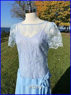 Vtg Size 13 14 1930s Chiffon and Lace Dress w Drop Waist Under Slip Cut on Bias