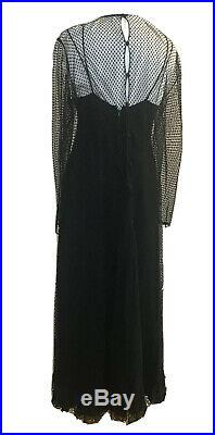 Vtg Stavropoulos Couture Black Chiffon 3 Piece Slip Dress Scarf Tulle Overlay M