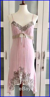 Vtg Sue Wong Floral Sequin Beaded Silk Cocktail Slip Dress Sz6p