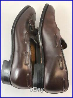 Vtg Tweed Cheaney Brown Leather Slip On Tassle Loafers Smart Dress Shoes 41 UK7