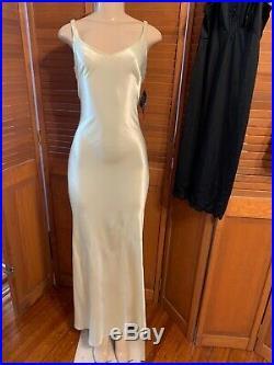 Vtg ZUMZUM GOWN BIASCut Slip Maxi Prom Party Formal Dress Plunging Back NWT SZ 8