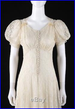 Vtg c. 1930 1940s Off White Floral Lace Sheer Puff Sleeve Tulle Dress Gown Slip