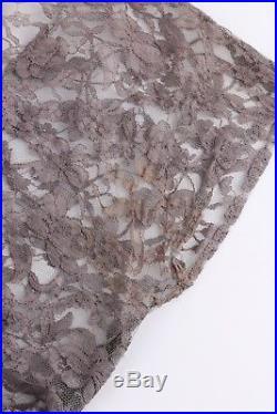 Vtg c. 1940's 1950's Gray Floral Lace Sheer Shift Cocktail Dress + Artemis Slip