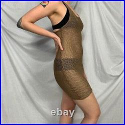 Vtg rare Jean Paul Gaultier net beige see-through midi slip dress