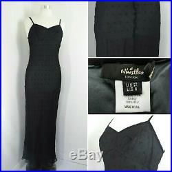 Whistles Black Silk Dress Slip Prom Vintage Jean Harlow 1920s Cocktail 12 40