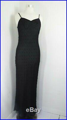 Whistles Silk Dress Black Slip Flapper Vintage Jean Harlow 1920s Cocktail 12 40