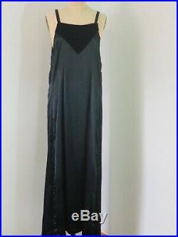 Women's 1920s Long Black Silk Slip