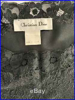 Womens Christian Dior Long Black Nightgown Satin Slip Vintage Sz Small