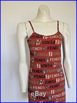 Womens Vintage 90s FENDI Logos Slip Bodycon Knee Length Dress XS/S