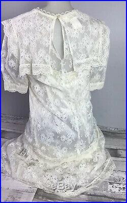 Womens Vintage Gunne Sax Lace & Silk Slip Dress Prairie Dress